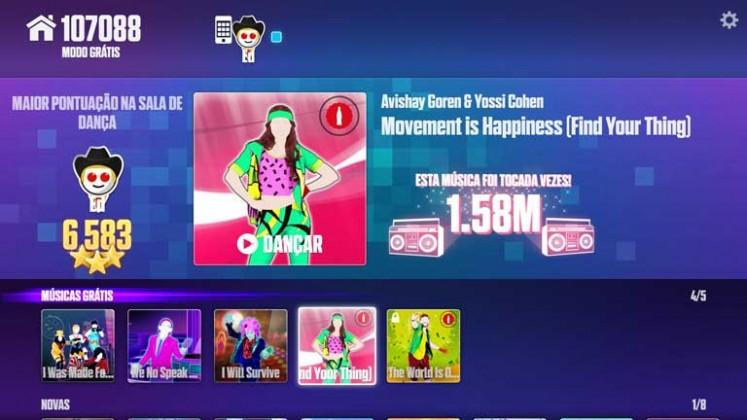 Escolhendo música no Just Dance Now